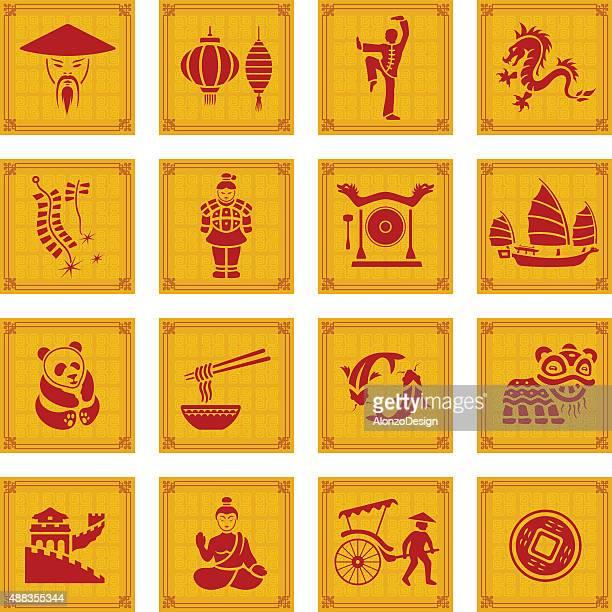 ilustraciones, imágenes clip art, dibujos animados e iconos de stock de conjunto de iconos de china - granmurallachina