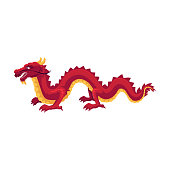 Chinese, Japanese red dragon standing on four paws