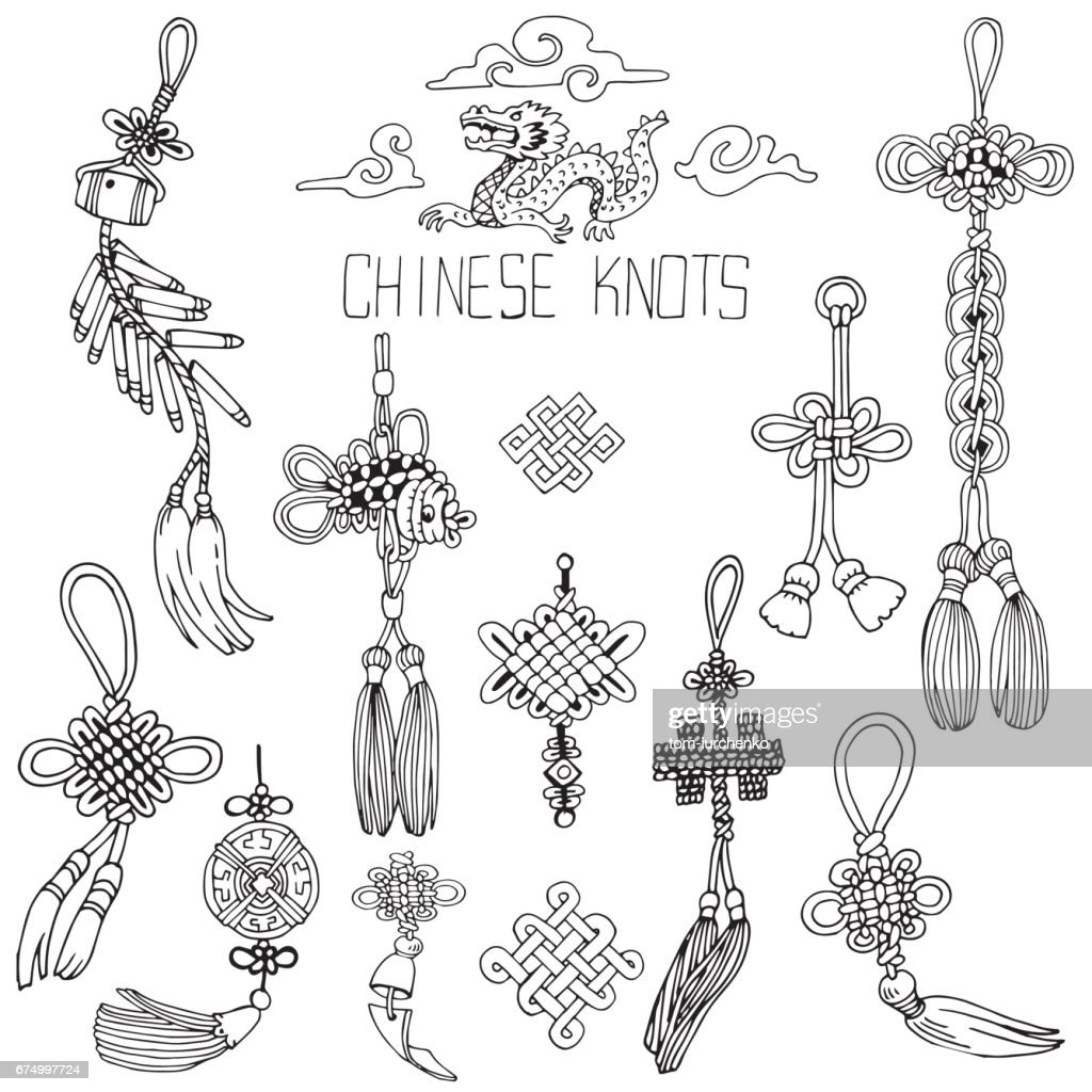 Chinese Knots Set. Symbol of Good Luck. Hand Drawn Black and White illustration.