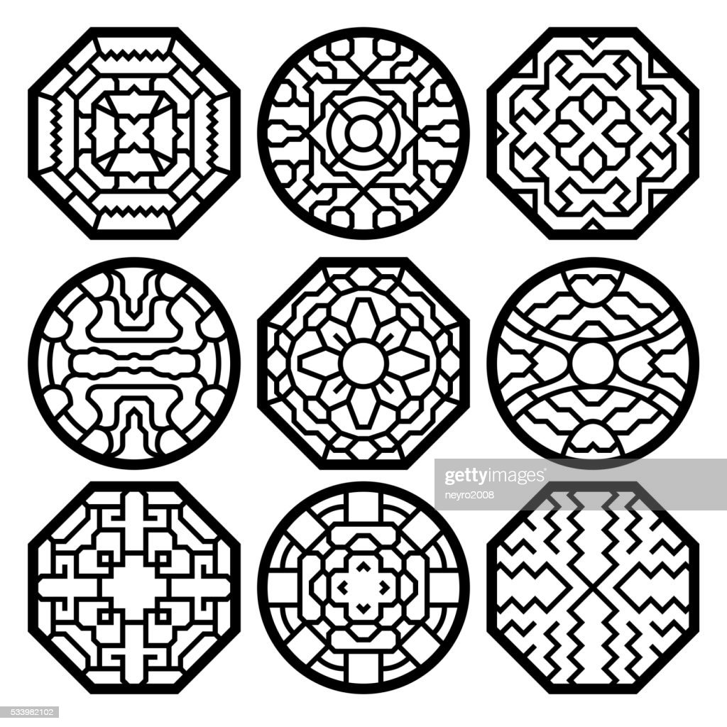Chinese, korean traditional vector pattern