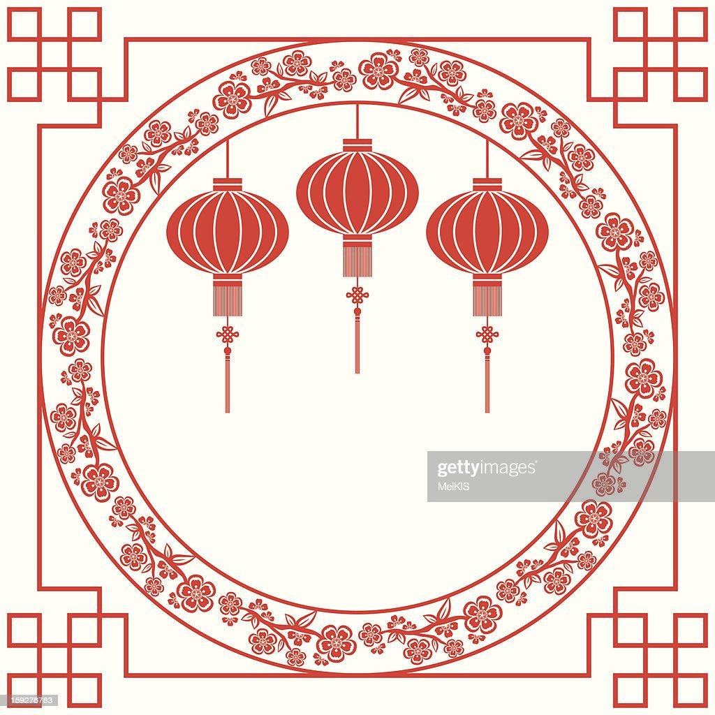 Chinese Lantern and Cherry Blossom Background