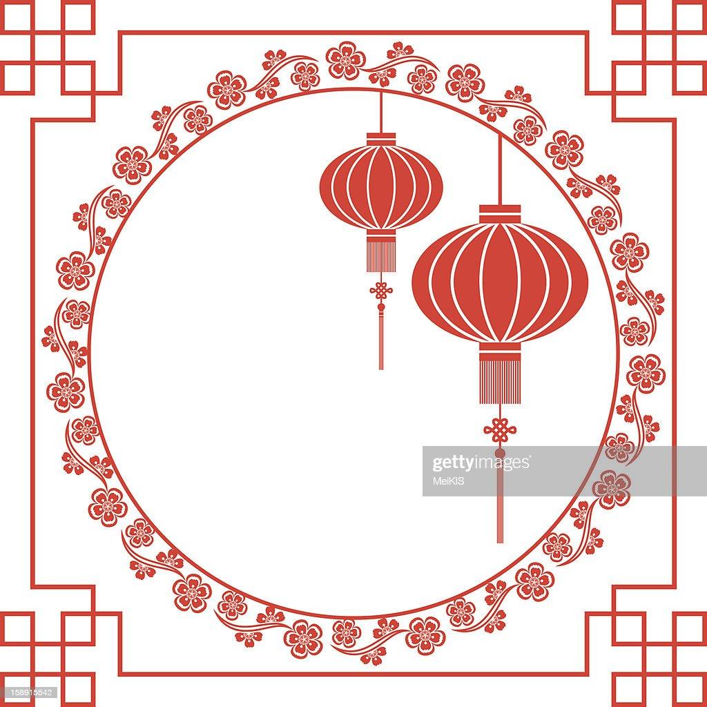 Chinese Lantern and Cherry Blossom