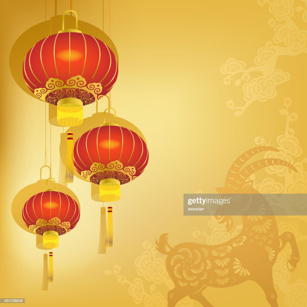 Chinese Lanterns With Goat Background Vector Art