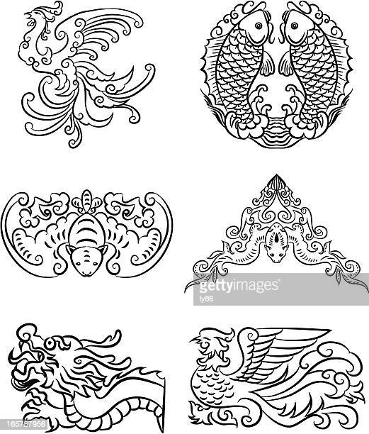 chinese lucky patterns - phoenix mythical bird stock illustrations, clip art, cartoons, & icons