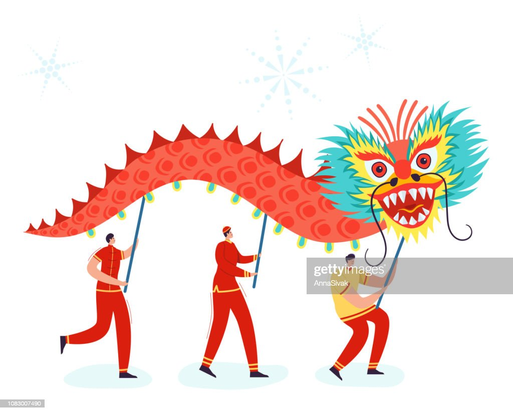 Chinese Lunar New Year People holding Dragon, wearing china traditional costume on parade or carnival. Characters in cartoon style vector illustration