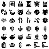 Chinese lunar new year vetor icon set, solid style