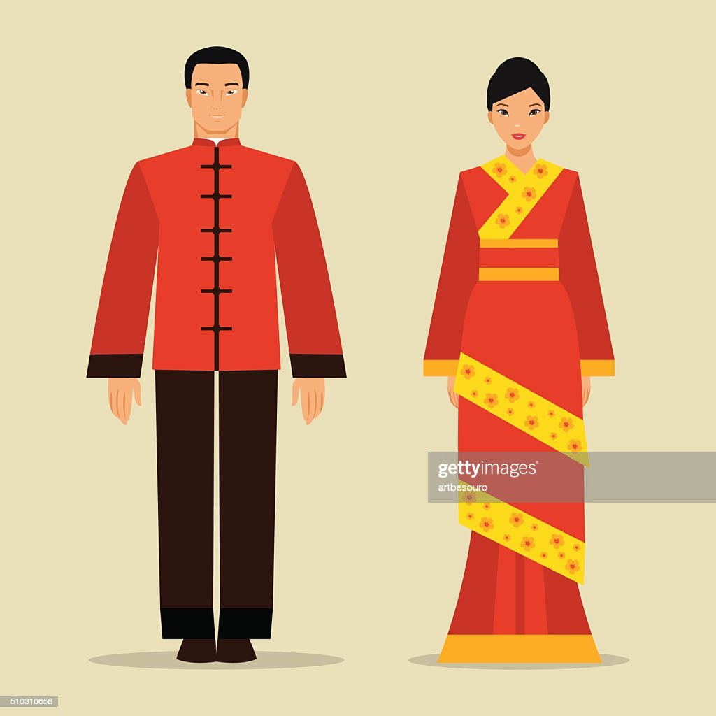 Chinese man and a woman in national costume