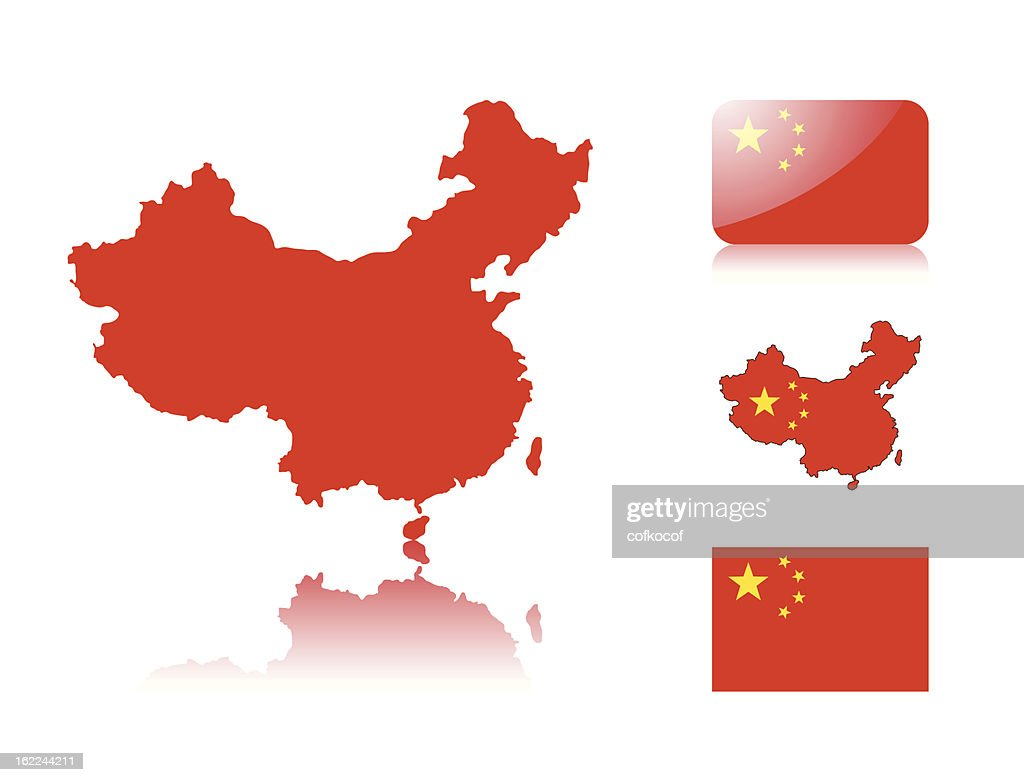 Chinese map and flags