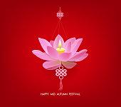 Chinese mid autumn festival background. Lotus lantern