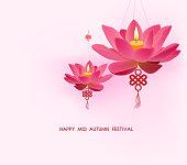 Chinese mid autumn festival background. Lotus lanterns