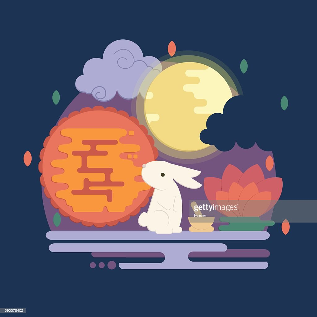 Chinese mid autumn festival illustration in flat style