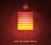 Chinese mid autumn festival polygonal background. Lotus lantern