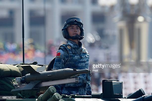 Chinese military vehicle is paraded through Tiananmen Square during a military parade to mark the 70th anniversary of the end of World War Two on...