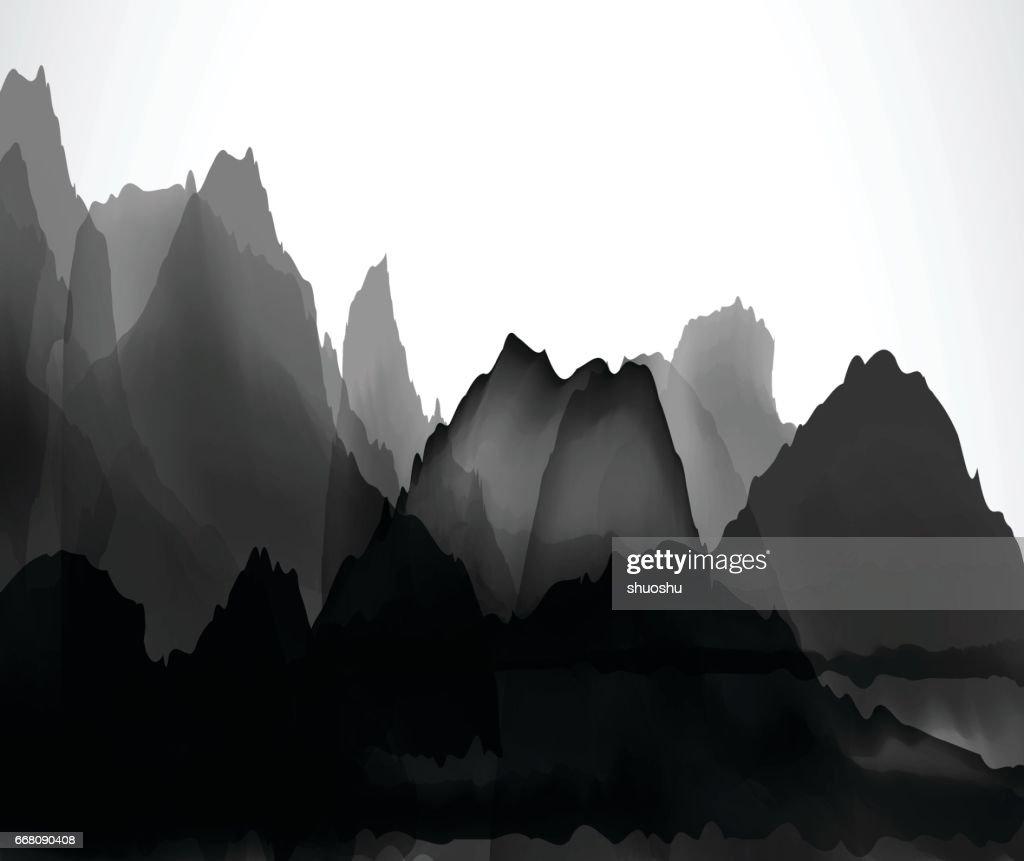 Chinesischen Berge und Wasser-Muster-Hintergrund : Stock-Illustration