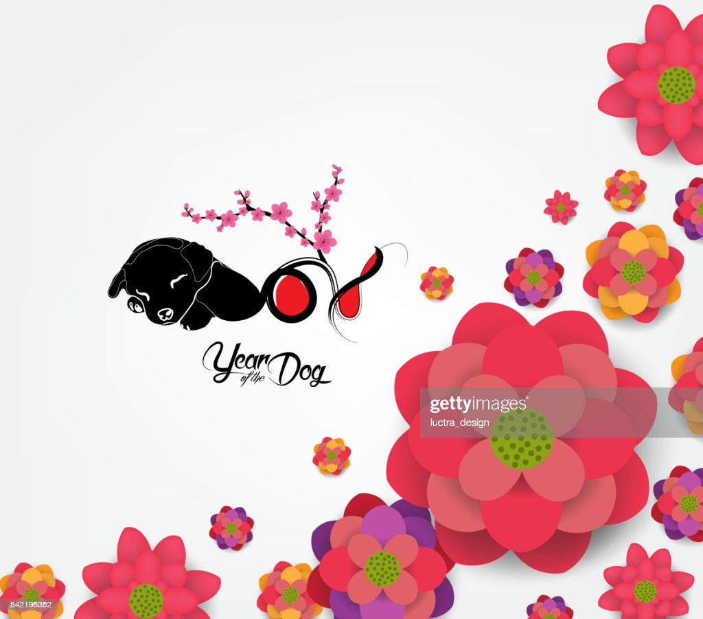chinese new year 2018 plum blossom background year of the dog vector art