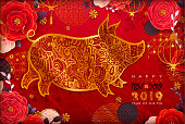Chinese New Year 2019. Zodiac Pig.