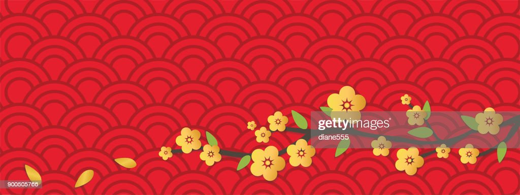chinese new year background in 3d cut paper style vector art
