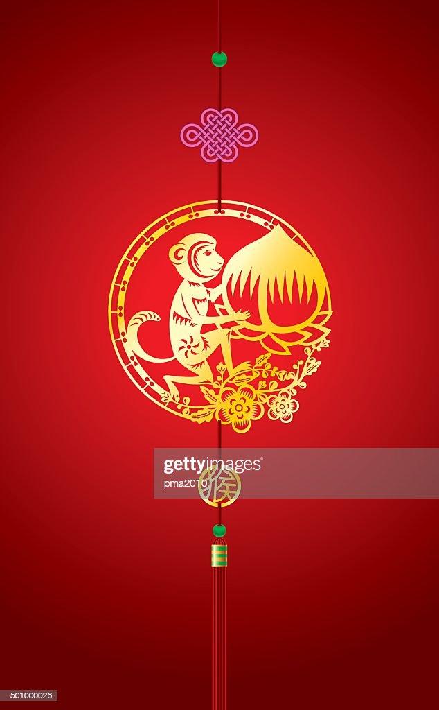 Chinese New Year background with hanging monkey decoration