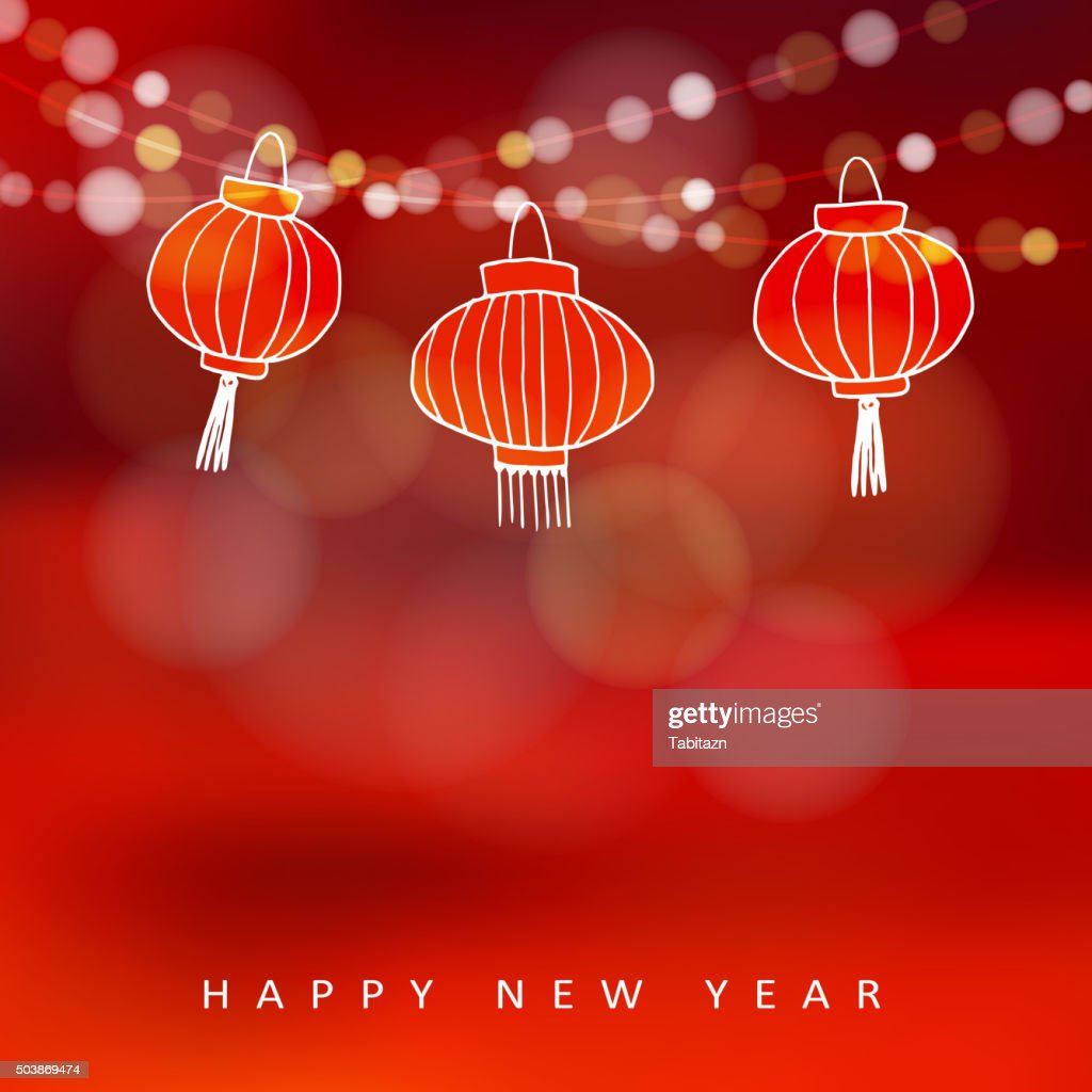 Chinese new year card with hand drawn paper lanterns, vector
