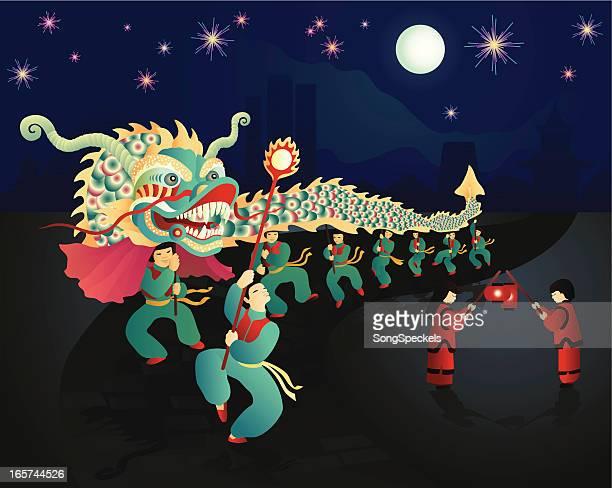 bildbanksillustrationer, clip art samt tecknat material och ikoner med chinese new year celebration - kinesiska lyktfestivalen