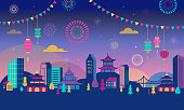 Chinese New Year - city lanscape with colorful fireworks and lanterns. Vector background