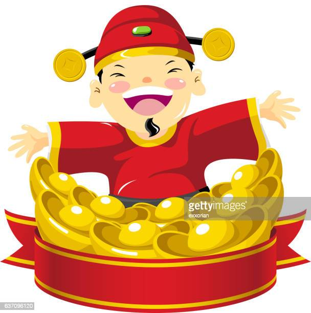 chinese new year costume - prosperity stock illustrations