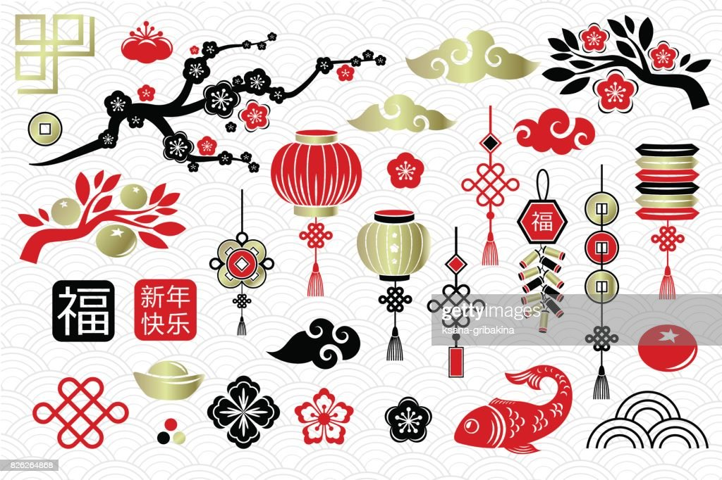Chinese New Year decoration elements.