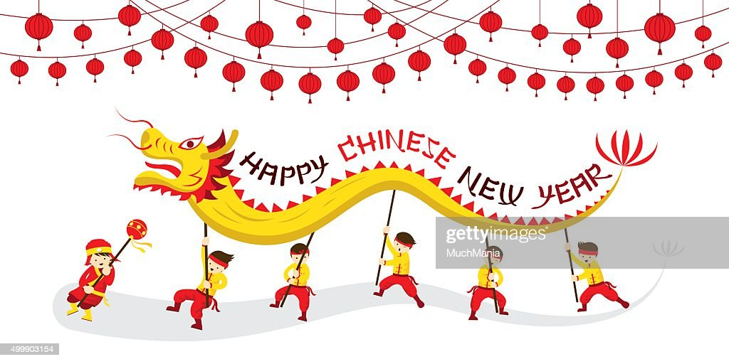 chinese new year dragon dancing vector art