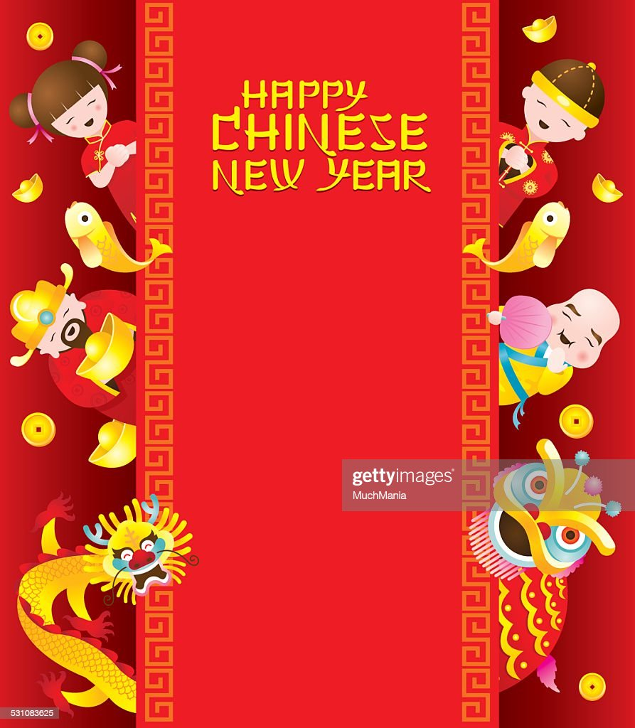 Chinese New Year Frame With Chinese Character Vectorkunst Getty Images