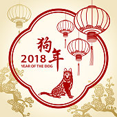 Chinese New Year Frame with Dog