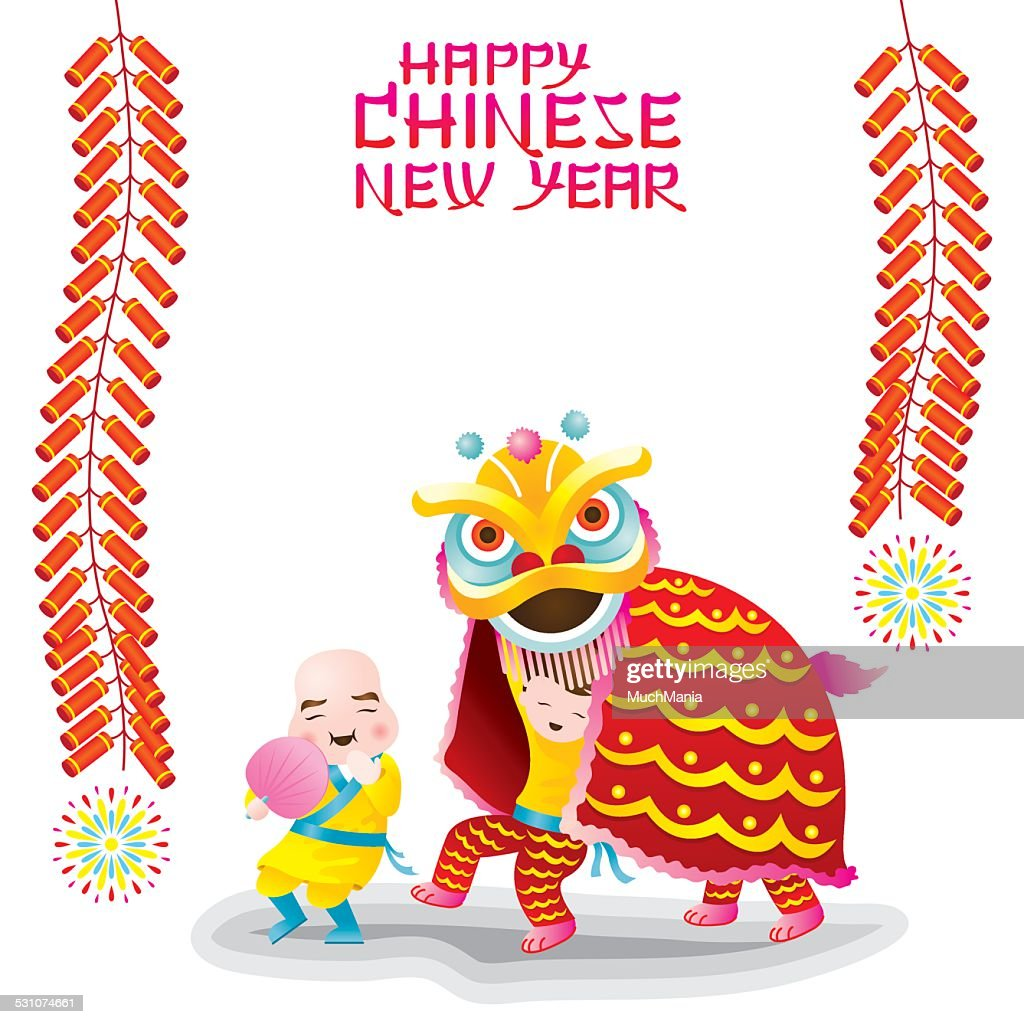 Chinese New Year Frame with Lion Dancing