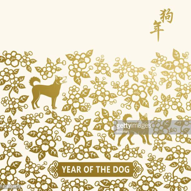 chinese new year golden dog & flowers - chinese new year stock illustrations, clip art, cartoons, & icons