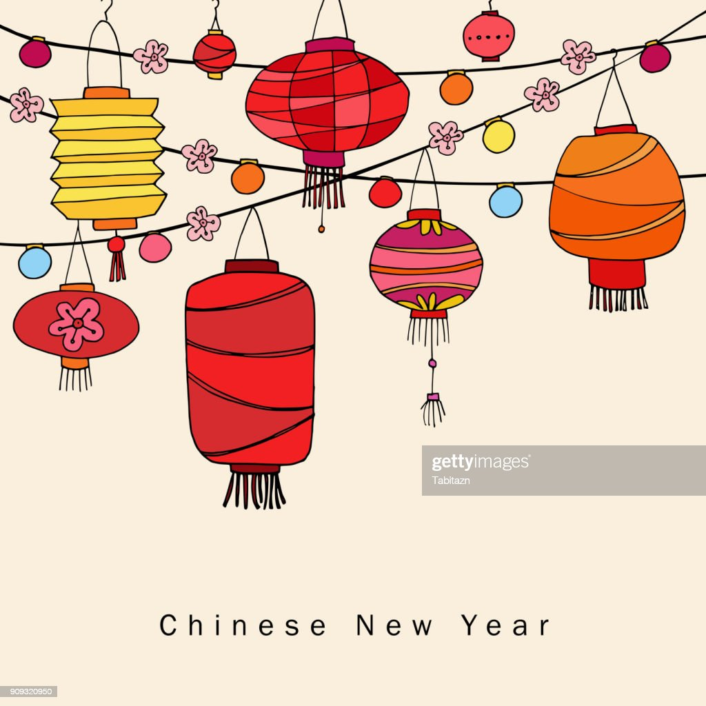 Chinese new year greeting card, invitation with string of hand drawn red lanterns. Asian party decoration. Vector illustration background