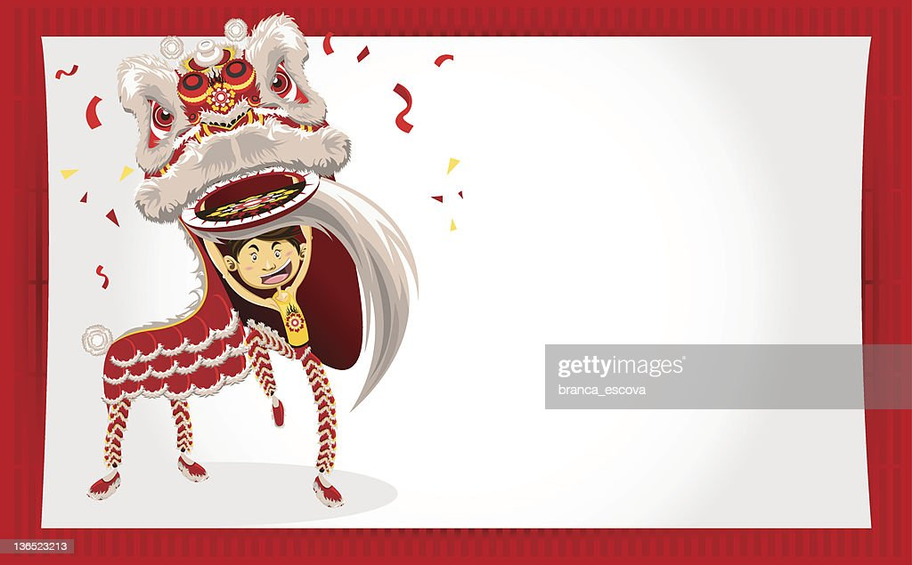 Chinese New Year Greeting Card Lion Dance Vector Art | Getty Images