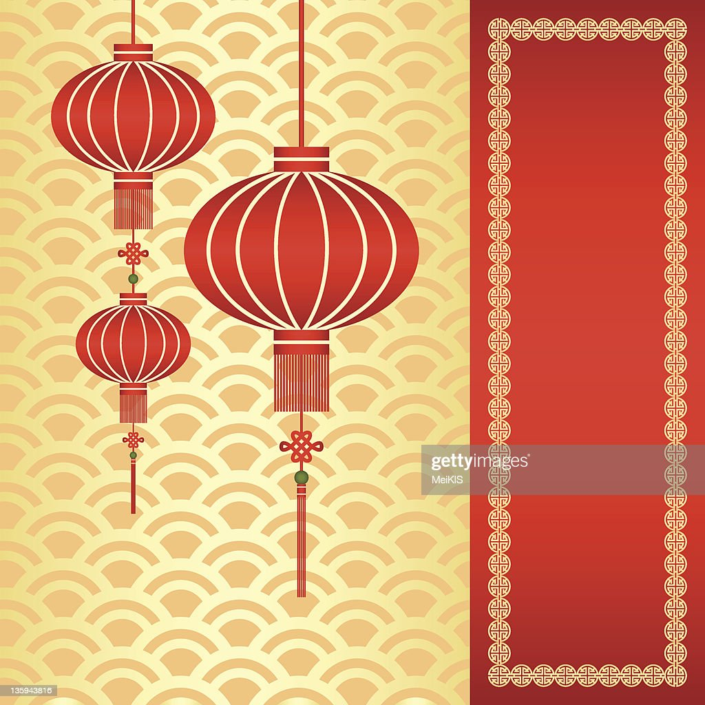 Chinese New Year greeting card with traditional lanterns