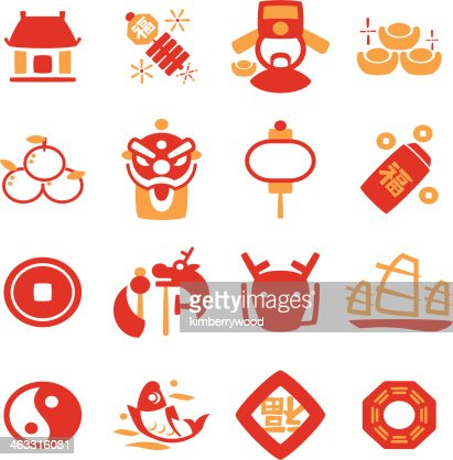 chinese new year icon vector art getty images - Chinese New Year Symbols