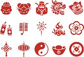 Chinese New Year icons - Illustration