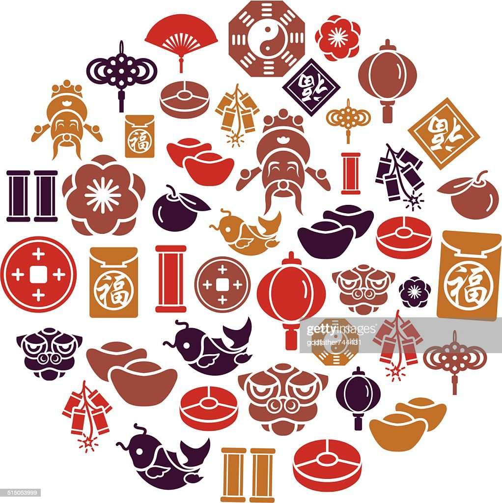 Chinese New Year Icons in Circle Shape