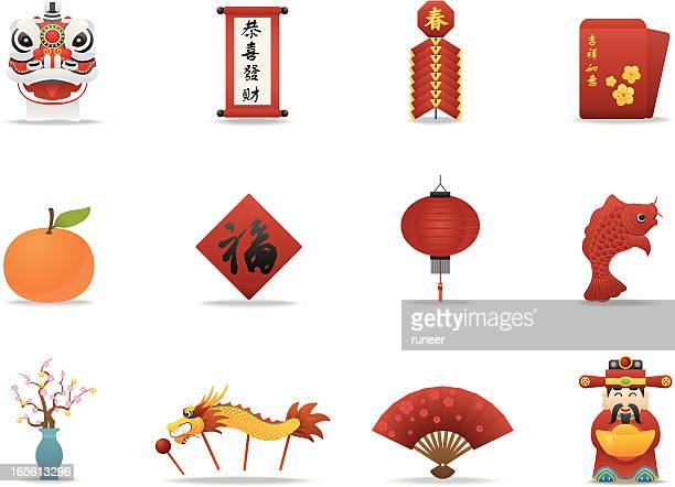 chinese new year icons | premium matte series - chinese new year stock illustrations, clip art, cartoons, & icons