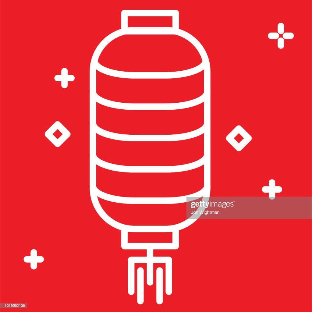chinese new year line icon lantern vector art