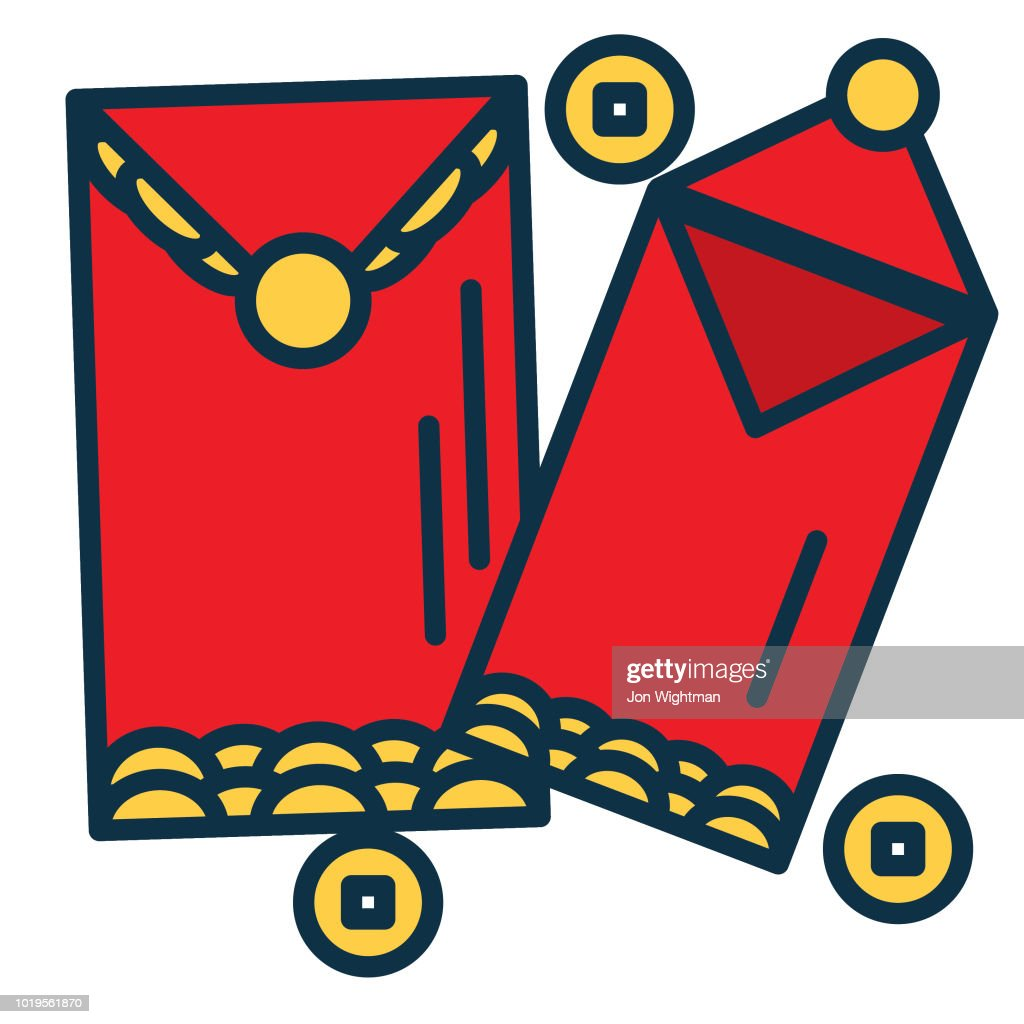 chinese new year line icon red envelope vector art getty images