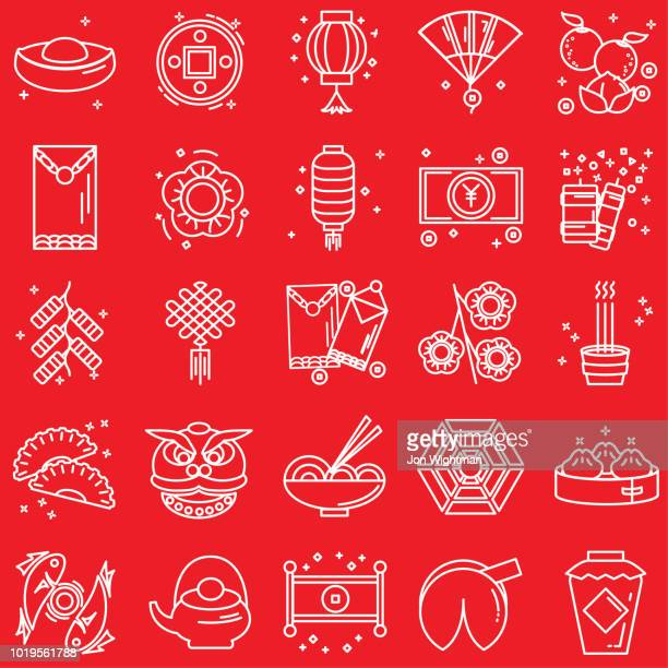 chinese new year line icon set - chinese new year stock illustrations, clip art, cartoons, & icons