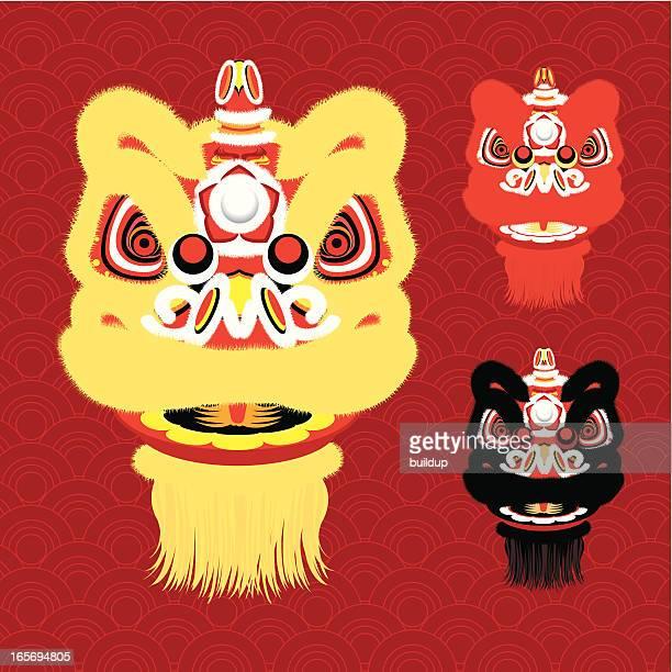 ilustrações, clipart, desenhos animados e ícones de ano novo chinês lion dance cabeça - arte, cultura e espetáculo