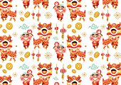 Chinese New Year Lion Dancing Pattern - vector Illustration