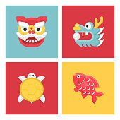 Chinese new year lucky animal sign, flat icon set