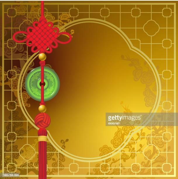 chinese new year lucky jade - tassel stock illustrations