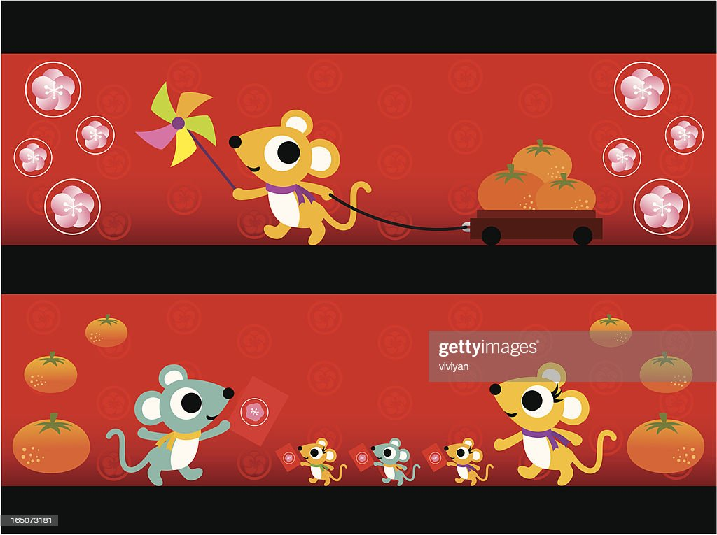 chinese new year of rat banner vector art