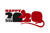 2020 Chinese New Year of Rat. Calendar poster year of mouse. Number zero stylized rat hole. Print t-shirt, greeting card, chinese new year flyer design