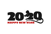 2020 Chinese New Year of rat. Calendar poster year of white mouse. Numbers two and zero stylized rat. Print t-shirt or card, poster, banner design. Vector animal