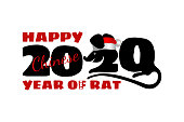 2020 Chinese New Year of rat. Calendar poster year of white mouse. Numbers two and zero stylized rat. Print t-shirt or card, poster, banner design. Vector animal in red santa hat